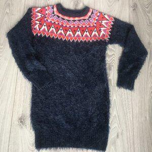 Gap Girls Navy Fair Isle Pullover Sweater Dress L